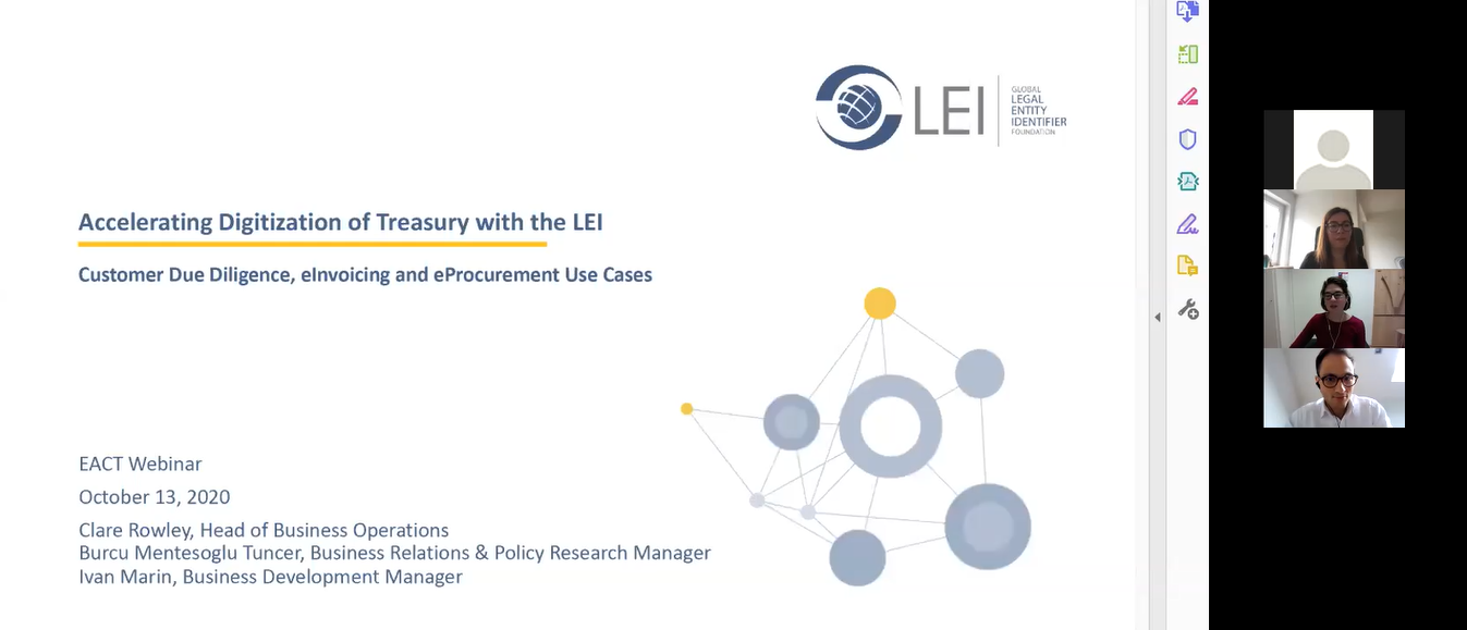 Photo from GLEIF-EACT Webinar: Accelerating Digitisation of Treasury with the LEI